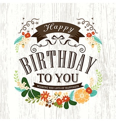 Happy birthday card design with flowers ribbon vector