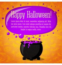 Happy halloween cute retro banner on craft paper vector image