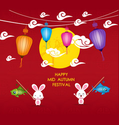Happy mid autumn festival background with rabbit vector