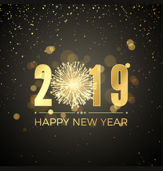 happy new year 2019 new years banner with golden vector image