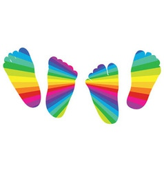 happy rainbow childrens feet vector image