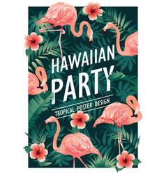 Hawaiian party tropical birds vector
