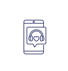 headphones and phone music podcast line icon vector image