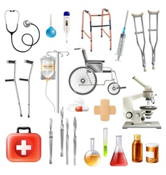 Healthcare Medical Accessories Flat Icons Set vector