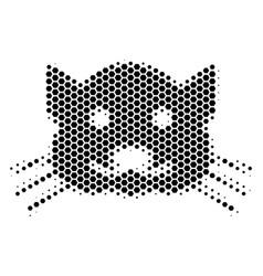 Hexagon halftone kitty icon vector
