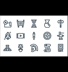 History line icons linear set quality line set vector