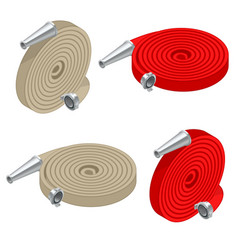 Isometric set of fire hoses fire safety and vector