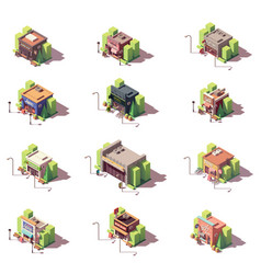 Isometric shops icon set vector