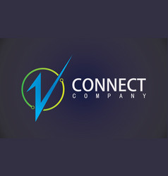 letter v connect technology logo vector image