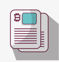 Line icon document bitcoin money currency vector