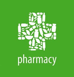 Logo for pharmacy cross on a green background vector