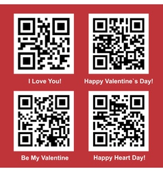 Love and Valentine Day readable QR Codes vector