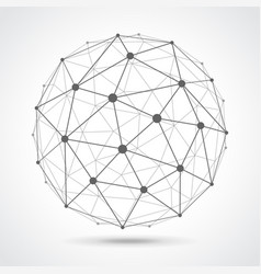 Low poly sphere from dots and lines isolated vector