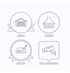 Mailbox video monitoring and garage icons vector image