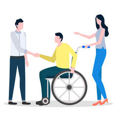 man sit on wheelchair woman help disabled person vector image