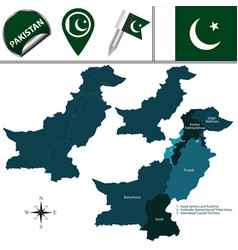 Map of pakistan with administrative units vector