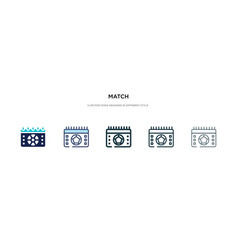 Match icon in different style two colored vector