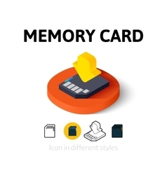Memory card icon in different style vector