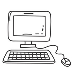 monochrome contour of desktop computer vector image