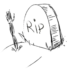 Monument and hand on grave vector