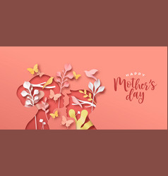 mothers day papercut card mom and boy child vector image