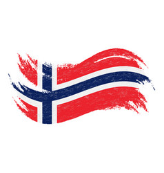 national flag of norway designed using brush vector image