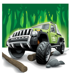 off road green vehicle suv deep jungle vector image