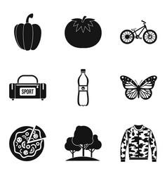 Orienteering icons set simple style vector