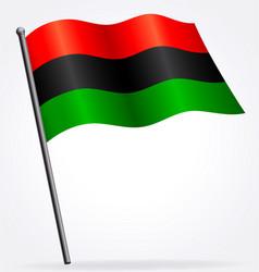 pan african flag waving on flagpole vector image