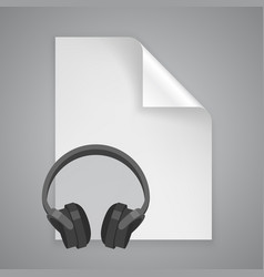 Paper symbol headphones vector