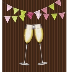 Party Background with Flags and Glasses of vector image