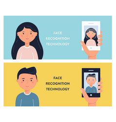 people faces and smartphone screens face vector image