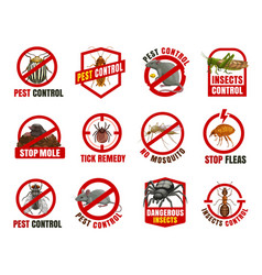 pest control isolated icons cartoon signs vector image