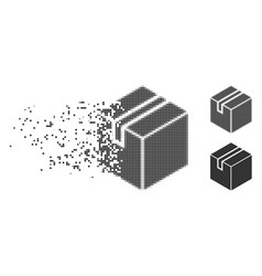 Product package box decomposed pixel halftone icon vector