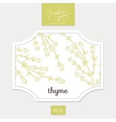 Product sticker with hand drawn thyme leaves vector image
