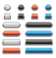 Red blue black and white glossy buttons vector