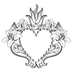 Sacred heart jesus beautiful ornamental heart vector