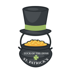 saint patrick day leprechaun hat and gold in vector image