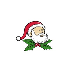 Santa Claus Father Head Christmas Holly Cartoon vector image