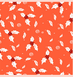 seamless pattern with winter leaves and berries vector image