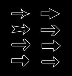 set line outline icons arrow vector image