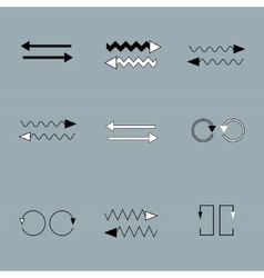 Set of arrows on grey backround vector image