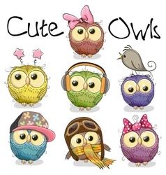 Set of cute cartoon owls vector