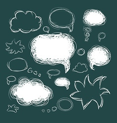 Set of scribble speech bubbles on a green vector image
