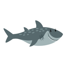 Shark sea animal cartoon icon vector