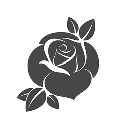 Silhouette of black rose vector image