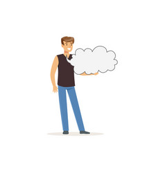 smiling man character in casual clothes holding vector image