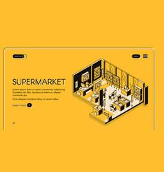 supermarket isometric landing empty store interior vector image