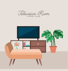 television room furniture potted plant sofa vector image