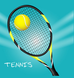 tennis ball with racket sport background vector image